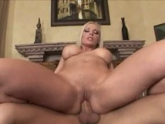 Nasty blondie bitch drilled on the sofa