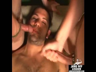 Porn Tube of Three Guys Jerking Off