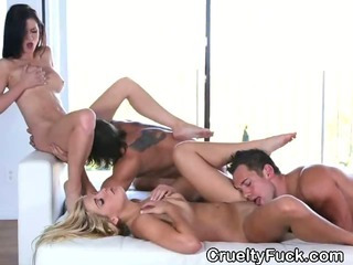 Porn Tube of Brunettes Fucked And Eaten Out In A Foursome