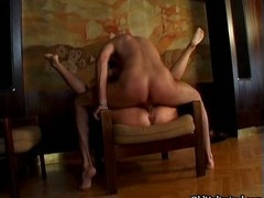 Blonde grandma gets her ass and pussy